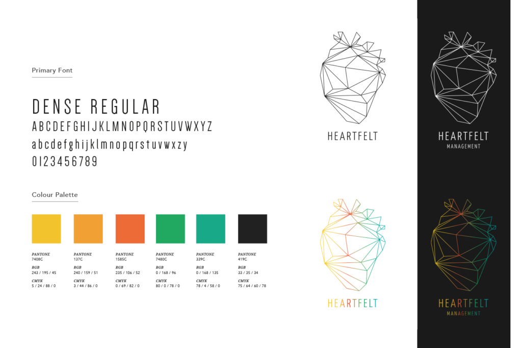Corporate design for artist management agency Heartfelt Management by Yvonne Hartmann