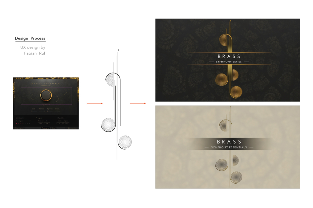 Design process for a Native Instruments Komplete Instrument Symphone Series artwork by Yvonne Hartmann - product artwork